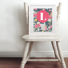Personalised floral baby name & birth art print