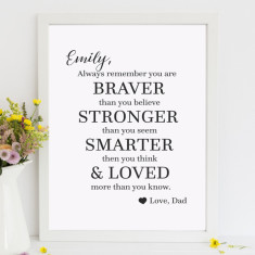Personalised Always Remember You Are Braver Than You Believe Print