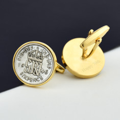 Sixpence Gold Coin Cufflinks 1928 To 1967