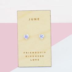 June birthstone sterling silver heart stud earrings
