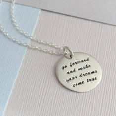 Sterling Silver Dreams Quote Necklace