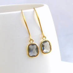 Rectangle Faceted Glass Gold Earrings