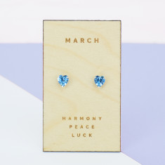 March birthstone sterling silver heart stud earrings