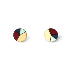 Circle geometric earrings in burgundy, dusty blue and baby blue