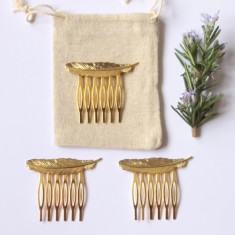 Gold feather hair comb gift sets