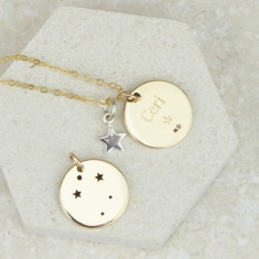 Gold Zodiac Constellation And Star Necklace