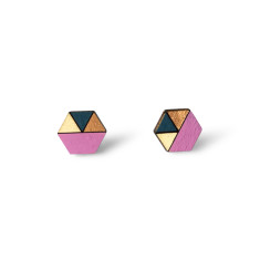 Hexagon geometric earrings in mauve pink, bronze and dusty blue
