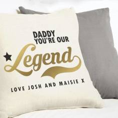 Personalised Golden Legend Cushion For Dad