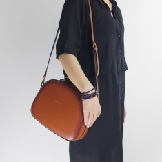 Leather Top-Handle Shoulder Bag in Brown