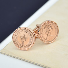Halfpenny Rose Gold Coin Cufflinks 1971 To 1984