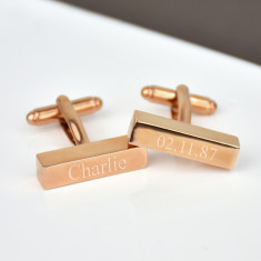 Personalised Rose Gold Bar Cufflinks