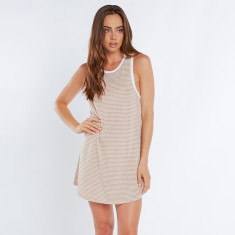 Striped jersey tank mini dress