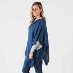 Merino wool poncho in denim blue