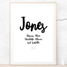 Personalised family names art print
