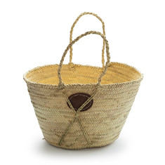 Small round sisal handle basket