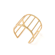 Solid fine brass gold cage ring