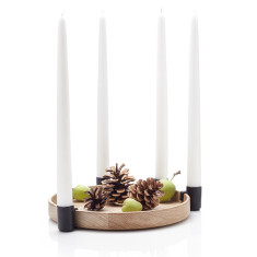 Applicata luna oak & black candleholder