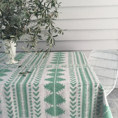 Sage green Tribal linen tablecloth