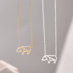 Geometric Polar Bear Necklace