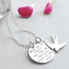 Personalised Sterling Silver Disc and Swallow 'What if I Fall?' Quote Necklace