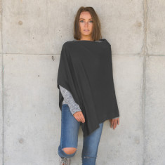 Merino wool poncho in charcoal grey