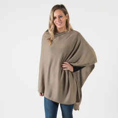 Merino wool poncho in khaki