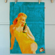 Retro Coca-Cola pin-up girl in bathing suit tea towel