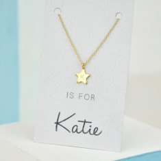 Personalised initial gold star necklace