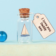 Personalised boat in bottle message keepsake