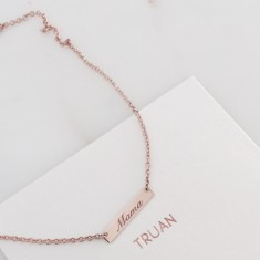 Personlised small bar necklace 18k rose gold vermeil