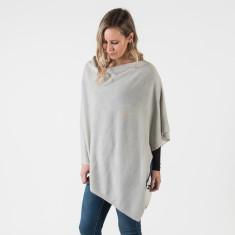 Merino wool poncho in silver grey