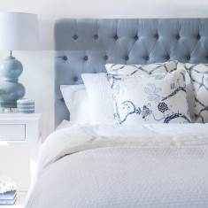 Duck Egg Blue linen buttoned bedhead