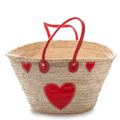 Classic palm basket medium with red heart