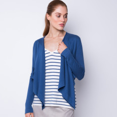 Draped open front cardigan - powder blue