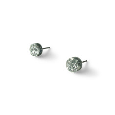 Mini Acrylic circle studs - chunky silver glitter
