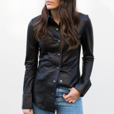 Jess leather shirt in black