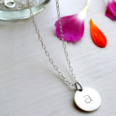 Personalised Sterling Silver Small Initial Disc Pendant Necklace