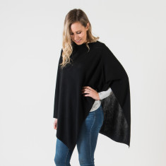 Merino wool poncho in black