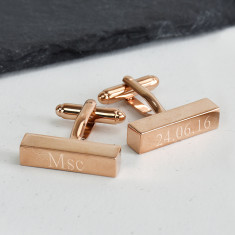 Graduation Personalised Rose Gold Bar Cufflinks