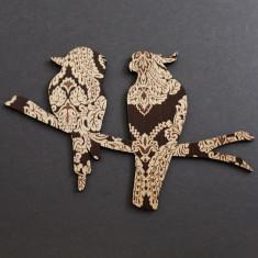 Cockatoo and kookaburra wall art in brown and gold