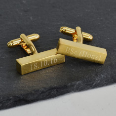 Graduation Personalised Brushed Gold Bar Cufflinks