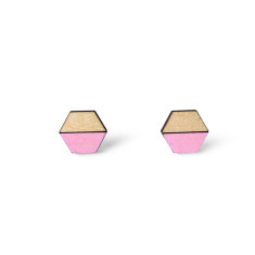 Hexagon half earring studs - baby pink