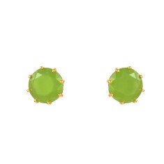 Small round stone apple green diamantine earrings