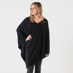 Long black cashmere poncho