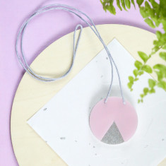 Geo circle necklace in pearlescent pink and silver glitter