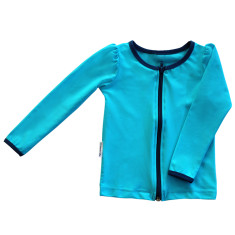 Long sleeve rashie for girls in Aquamarine