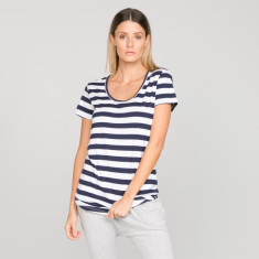 Basic tee in navy stripe organic cotton