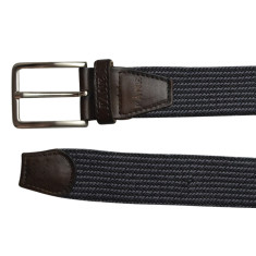 Woven elastic belt in gunmetal & black pinstripe