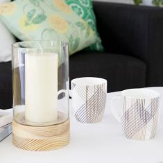 Glass & wood cylinder vase