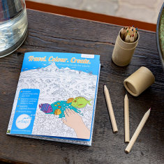 Travel on the go colouring book for adults